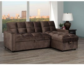 Brassex Jayden Sectional with Pull-Out Bed & Storage Chaise in Brown XH19-2015-S-BR