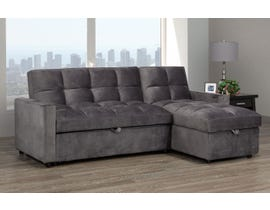 Brassex Jayden Reversible Sectional with Pull-Out Bed & Storage Chaise in Grey XH19-2015-S-GR