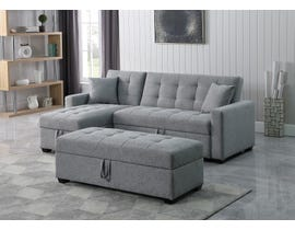 Brassex Sectional with Reversible Chaise and Storage Ottoman in Grey XH-2004