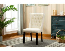 Kwality Furniture Mila Collection Accent Chair (Set of Two) with Black Handle in Beige YD-400