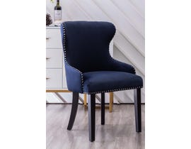 K Elite Lando Fabric Accent Chairs w/Silver Nailhead & Handle in Blue (set of 2) YD-700-BL