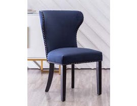 K Elite Grant Fabric Accent Chairs in Blue With Silver Nailheads & Handle at Back (Set of 2) YD-800-BL
