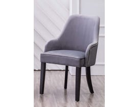 K Elite Yolda Fabric Accent Chairs in Grey with Silver Nailheads & Handle at Back (Set of 2) YD-900-GR