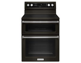 KitchenAid 30 inch 6.7 cu. ft. Double Oven Convection Electric Range in Black Stainless Steel YKFED500EBS