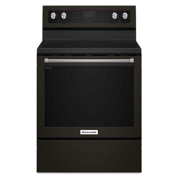 KitchenAid 30 inch 6 4 cu ft  5 element electric convection range Black  Stainless YKFEG500EBS