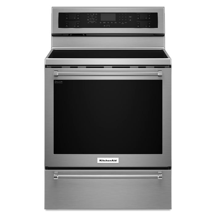KitchenAid 30 inch 6 4 cu ft  5 element electric convection range in  stainless steel YKFEG500ESS