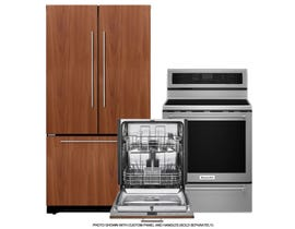 KitchenAid Panel Ready Kitchen Appliances Bundle UDT555SBDP/KFC022EVBL/YKFEG500ESS