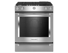 KitchenAid® 30-Inch 5-Burner Dual Fuel Convection Slide-In Range with Baking Drawer YKSDB900ESS