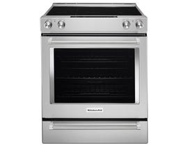 KitchenAid 30 inch 7.1 cu.ft. 5 element electric convection range with baking drawer in stainless steel YKSEB900ESS