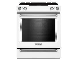 KitchenAid 30 inch 7.1 cu.ft. 5 element electric convection range with baking drawer in white YKSEB900EWH