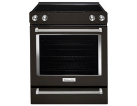 KitchenAid 30 inch 6.4 cu.ft. Electric Convection Front Control  Range Black Stainless YKSEG700EBS