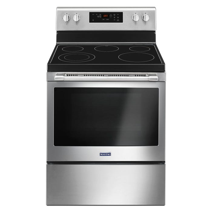 Maytag 30 inch 5.3 cu.ft. Freestanding Electric Range finger resistant stainless steel YMER6600FZ