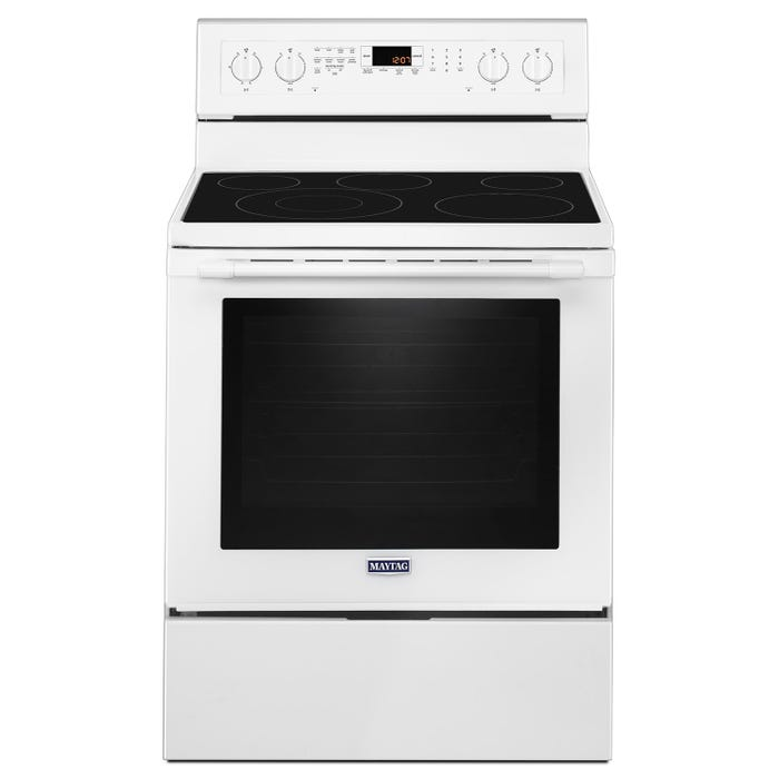 Maytag 30 inch 6 4 cu ft  true convection electric range with power preheat  in white YMER8800FW