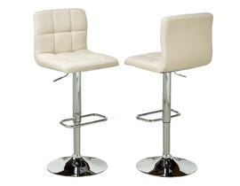 Brassex fabric adjustable bar stool with swivel (set of 2) in beige YS-8052