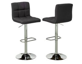 Brassex fabric adjustable bar stool with swivel (set of 2) in black YS-8052
