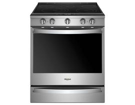 Whirlpool 30 inch 6.4 cu. ft. Smart Slide-in Electric Range with Frozen Bake Technology in Stainless Steel YWEE750H0HZ