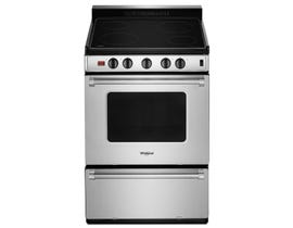 """Whirlpool 24"""" 3.0 Cu. Ft. Freestanding Smooth Top Electric Range in Stainless Steel YWFE50M4HS"""
