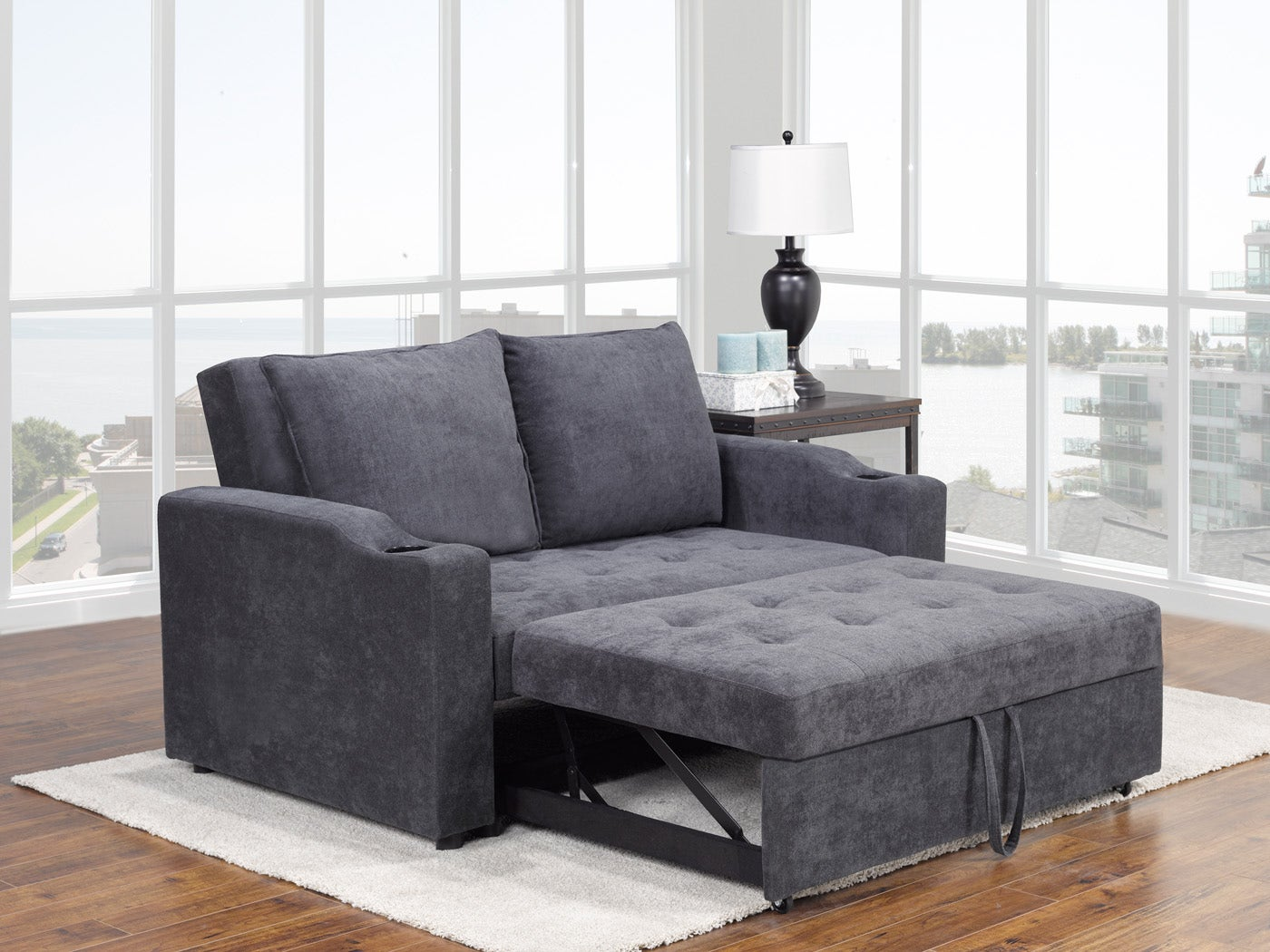 Brassex Fresno Sofa with Pull-Out Bed & Adj. Back in Grey S-5-5